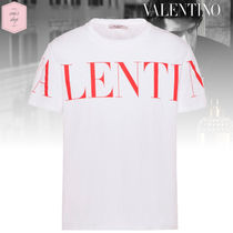 VALENTINO Crew Neck Pullovers Street Style Plain Cotton Short Sleeves