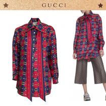 GUCCI Other Check Patterns Monogram Silk Long Sleeves