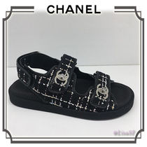6abfa3784215 CHANEL Open Toe Casual Style Footbed Sandals Flat Sandals