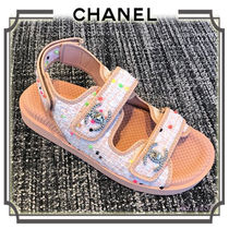 CHANEL Open Toe Casual Style Footbed Sandals Flat Sandals