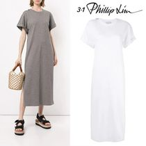 3.1 Phillip Lim Crew Neck Casual Style Tight Plain Cotton Long Short Sleeves