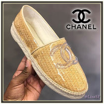CHANEL Round Toe Casual Style Plain Flats