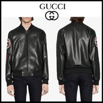 GUCCI Short Stripes Street Style Plain Leather Varsity Jackets