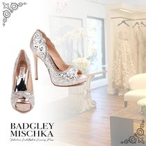 Badgley Mischka Flower Patterns Open Toe Party Style Peep Toe Pumps & Mules
