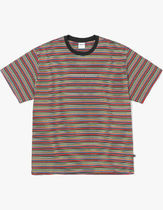 thisisneverthat Crew Neck Stripes Unisex Street Style Cotton Short Sleeves