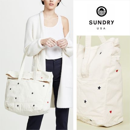 Heart Star Casual Style Unisex Canvas Street Style A4 Totes