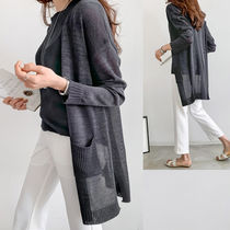 Long Sleeves Plain Long Cardigans