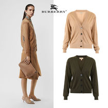 Burberry Casual Style Wool Long Sleeves Plain Cardigans