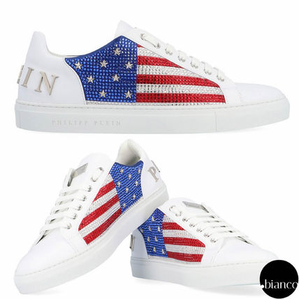 Blended Fabrics Leather With Jewels Sneakers