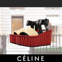 CELINE Stripes Casual Style Blended Fabrics Leather
