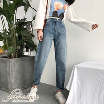 Denim Street Style Plain Long Short Length Oversized Jeans