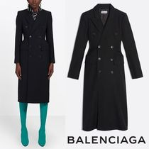 BALENCIAGA Wool Plain Long Office Style Chester Coats