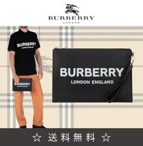 Burberry Casual Style Unisex Calfskin Street Style Clutches
