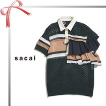 sacai Stripes Casual Style Short Sleeves Polo Shirts
