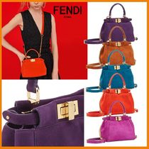 FENDI PEEKABOO Casual Style Suede Blended Fabrics 2WAY Chain Plain