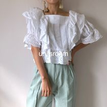 Short Flower Patterns Puffed Sleeves Plain Cotton