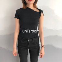 Short U-Neck Plain Short Sleeves Cropped