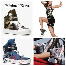 Michael Kors Camouflage Round Toe Rubber Sole Lace-up Casual Style