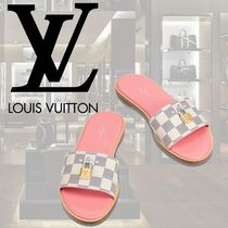 Louis Vuitton DAMIER AZUR Round Toe Casual Style Street Style Leather Sandals