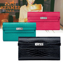 HERMES Kelly Plain Other Animal Patterns Leather Long Wallets