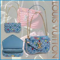 Louis Vuitton Blended Fabrics 2WAY Chain Elegant Style Shoulder Bags