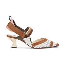 FENDI Monogram Blended Fabrics Leather Block Heels Elegant Style