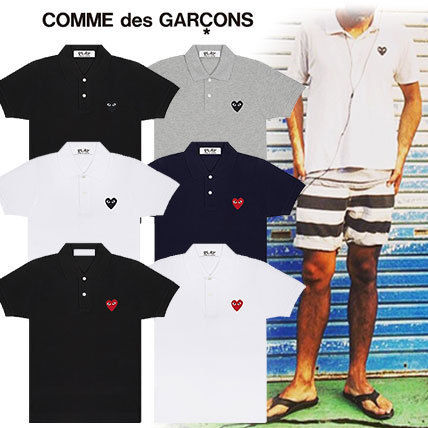 COMME des GARCONS Polos Heart Unisex Street Style Cotton Short Sleeves Polos