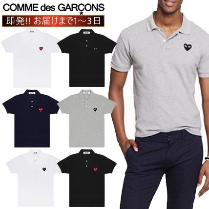COMME des GARCONS Polos Heart Unisex Street Style Cotton Short Sleeves Logo