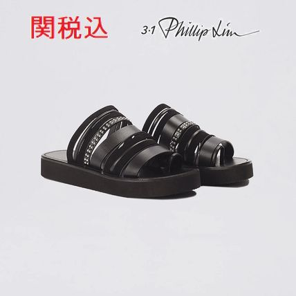 Stripes Rubber Sole Blended Fabrics Studded Street Style