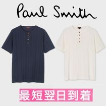 Paul Smith Henry Neck Plain Cotton Short Sleeves Henley T-Shirts