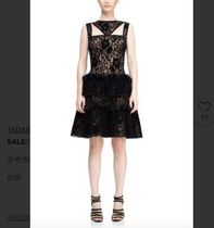 TADASHI SHOJI Flower Patterns A-line Medium Party Style Lace Dresses