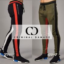 CRIMINAL DAMAGE Stripes Street Style Cotton Joggers & Sweatpants