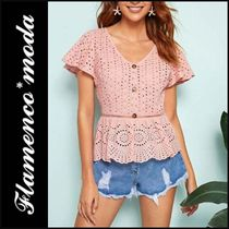 Casual Style Peplum Cotton Short Sleeves Shirts & Blouses
