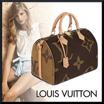 Louis Vuitton SPEEDY Monogram Casual Style Blended Fabrics 2WAY Bi-color Leather