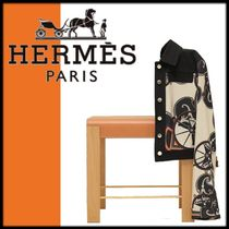 HERMES Short Blended Fabrics Other Animal Patterns Elegant Style