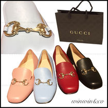 GUCCI Square Toe Plain Leather Elegant Style Loafer Pumps & Mules