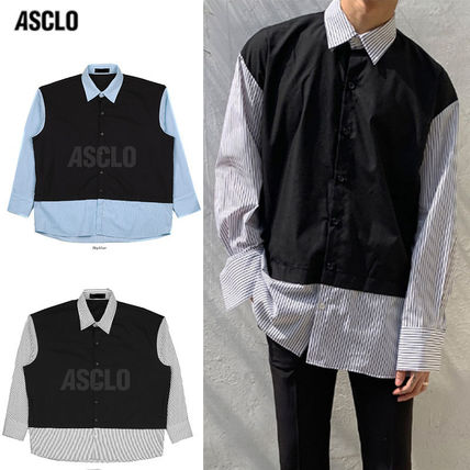ASCLO Shirts Stripes Street Style Collaboration Long Sleeves Plain Cotton
