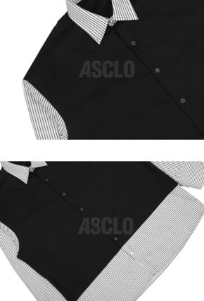 ASCLO Shirts Stripes Street Style Collaboration Long Sleeves Plain Cotton 11