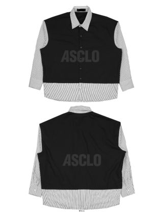 ASCLO Shirts Stripes Street Style Collaboration Long Sleeves Plain Cotton 13