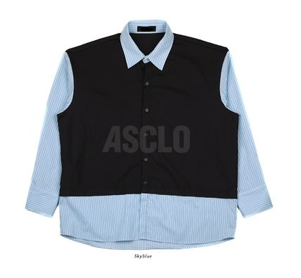 ASCLO Shirts Stripes Street Style Collaboration Long Sleeves Plain Cotton 14