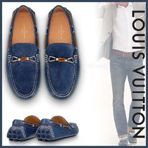 Louis Vuitton Plain Toe Moccasin Blended Fabrics Bi-color Plain Leather