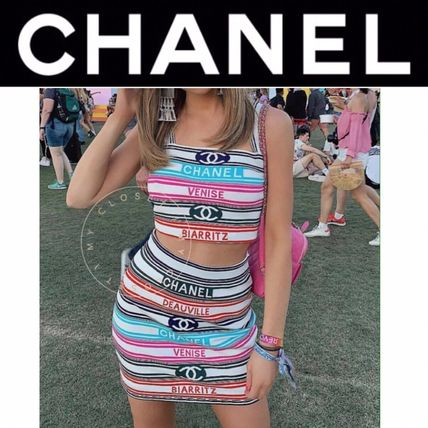 Short Stripes Casual Style Nylon Street Style Cropped