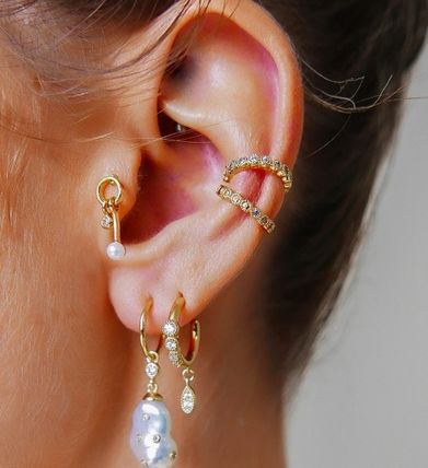 Casual Style Silver Earrings & Piercings