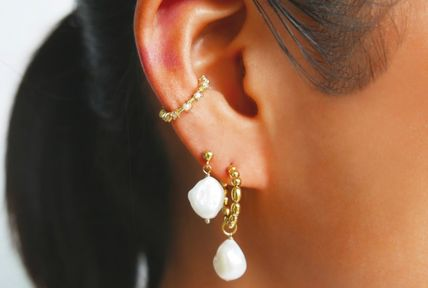 Casual Style Silver 14K Gold Earrings & Piercings