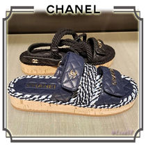 CHANEL Open Toe Platform Elegant Style Platform & Wedge Sandals