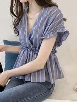 Stripes Chiffon Medium Short Sleeves Shirts & Blouses