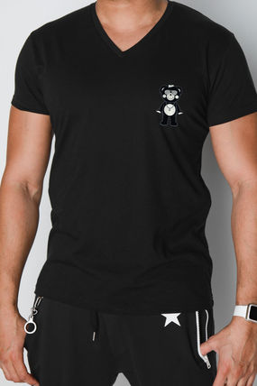 Logo T-Shirt Pullovers Star V-Neck Cotton Short Sleeves
