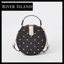 River Island Blended Fabrics 2WAY Plain With Jewels Straw Bags