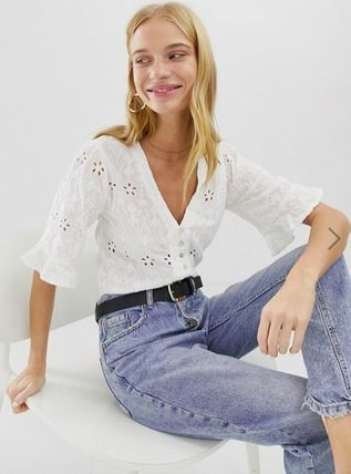 Casual Style Plain Short Sleeves Lace Shirts & Blouses