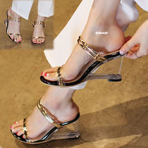 Open Toe Enamel Plain Elegant Style Platform & Wedge Sandals